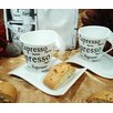 D'Lusso Designs 4 Piece Espresso Design Biscotti Saucer Espresso Set