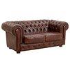 Max Winzer 2-Sitzer Chesterfield Sofa Bridgeport aus Leder