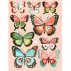 Wheatpaste Art Collective Butterflies by Katie Daisy Framed Graphic Art on Wrapped Canvas in Pink