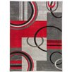 Well Woven Ruby Galaxy Waves Grey & Red Area Rug