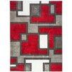 Well Woven Ruby Imagination Squares Red Area Rug