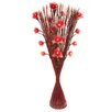 Zhambala Red Carnation in Red and Brown Straight Vase