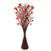 Zhambala Red Carnation in Brown Wave Vase