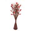 Zhambala Red Okra in Brown Wave Vase