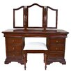 Prestington Beaulieu 9 Drawer Louis Philippe Sleigh Dressing Table Set with Mirror