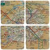 Vintage Boulevard Paris Metro 4 Piece Coaster Set