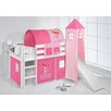 Wrigglebox Jelle Princess High Sleeper Bunk Bed with Curtain, Tower and Slide
