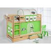 Wrigglebox Jelle Tractor High Sleeper Bunk Bed with Curtain and Two Slats