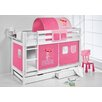 Wrigglebox Jelle Princess High Sleeper Bunk Bed with Curtain and Two Slats