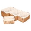 House Additions Willow Lined Deep Basket 4 Piece Set