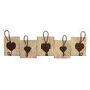House Additions Reclaimed 5 Piece Heart Wall Hook Set