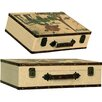 House Additions 2 Piece Wood and Canvas Suitcase Set