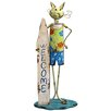 House Additions Cat Surf Boarder Statue