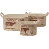 House Additions Cow 3-Piece Round Flower Pot Set