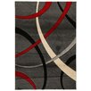 House Additions Reze Dark Grey/Red Area Rug