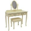 House Additions Solid Wood Dressing Table Set with Mirror