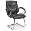 Home & Haus Managers Medium Back  Leather Visitors Armchair