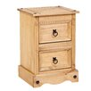 Home & Haus Classic Corona 2 Drawer Bedside Table