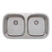 "Wells Sinkware Craftsmen Series 32.5"" x 18.13"" Equal Double Bowl Kitchen Sink"