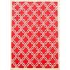 Coralie Flooring Trellis Hand-Tufted Red Area Rug