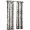 Sun Zero Auburn Floral Print Rod Pocket Single Curtain Panel