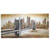 EC World Imports New York Bridge Hand Painted Contemporary Canvas Wall Decor