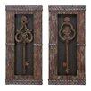EC World Imports 2 Piece Urban Vintage Metal Keys Art Wall Decor Set