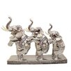 EC World Imports Standing Asian Elephant Trio Collectible Statue Figurine