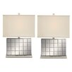 """EC World Imports Urban Designs Chrome Mirror 23"""" H Table Lamp with Rectangular Shade (Set of 2)"""