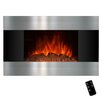 Golden Vantage Stainless Steel and Black Wall Mount Electric Fireplace