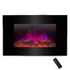 "Golden Vantage Pebble and Log Interchangeable 36"" Wall Mount Electric Fireplace with Remote"