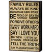 Hill Interiors Family Rules Shelf Typography Plaque