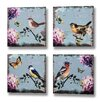 Hill Interiors Birds and Butterflies 4 Piece Art Print on Canvas Set