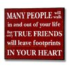 Hill Interiors Footprints in Your Heart Typography Plaque in Red