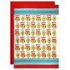 MU Kitchen Owl 3 Piece Designer Print Apron and Flour Sack Towel Set