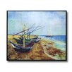 "Wellyer Inc. ""Fishing Boats on the Beach"" by Vincent Van Gogh Framed Painting Print"