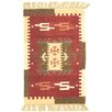 Loloey Kilim Darya Hand-Woven Bordeaux and Beige Area Rug