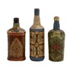 Cole & Grey 3 Piece Glass Painted Decorative Bottle Set