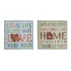 Cole & Grey 2 Piece Textual Art on Canvas Set