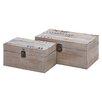 Cole & Grey 2 Piece Wood and Metal Box Set