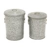 Cole & Grey 2 Piece Metal Galvanized Trash Can Set