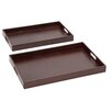 Cole & Grey 2 Piece Wood and Real Leather Tray Set