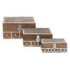 Cole & Grey 3 Piece Wood and Brass Inlay Box Set