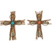 Cole & Grey Wood and Metal Cross Wall Decor (Set of 2)