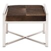 Cole & Grey Stainless Steel and Leather Hide Stool