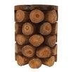 Cole & Grey Teak Wood Log Stool