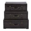 Cole & Grey 3 Piece Wood Leather Trunk Dresser Set