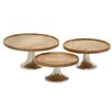 Cole & Grey 3 Piece Wood Aluminuminum Cake Plate Set