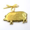 POSH Graffiti by Emily Readett-Bayley 3 Piece Gilded Wooden Pigs Hanging Figurine Set (Set of 3)