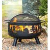 Plow & Hearth Steel Wood Fire Pit with Domed Spark Guard